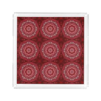 Bandeja De Acrílico Teste padrão vermelho e branco da mandala
