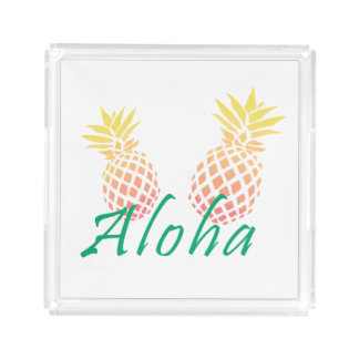 """Bandeja De Acrílico texto tropical do verão """"aloha"""", abacaxi colorido"""