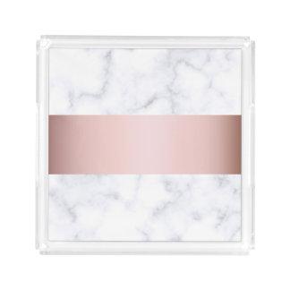Bandeja De Acrílico tira cor-de-rosa do falso do ouro do mármore