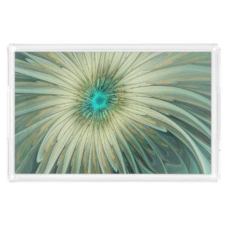 Bandeja De Acrílico Trigo abstrato moderno de turquesa da flor da