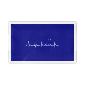 Bandeja De Acrílico Veleiro engraçado da pulsação do coração da