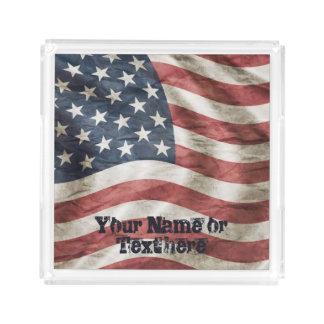 Bandeja De Acrílico Vermelho, branco e azul velhos da bandeira dos