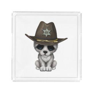 Bandeja De Acrílico Xerife bonito do lobo do bebê