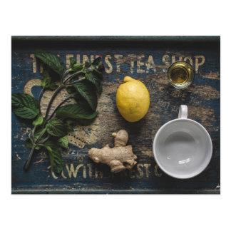 Bandeja de chá cartão postal