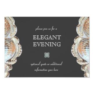 Bandeja de prata de jantar formal do serviço convite 12.7 x 17.78cm