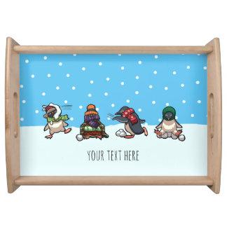 Bandeja Desenhos animados da luta do Snowball do pinguim