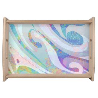 Bandeja Design abstrato das ondas das cores