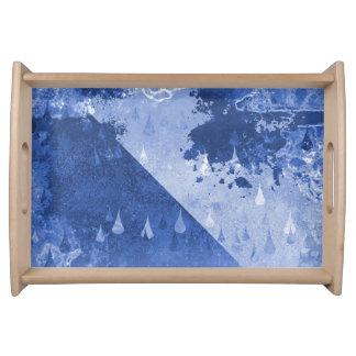 Bandeja Design azul abstrato das gotas da chuva