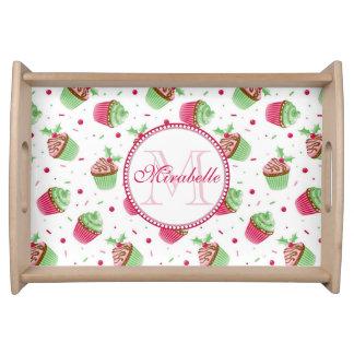 Bandeja Design, nome & monograma do cupcake do Natal