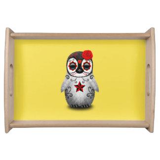 Bandeja Dia vermelho do pinguim inoperante do bebê