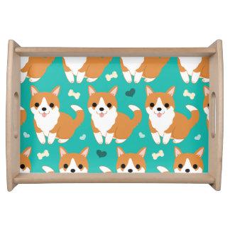 Bandeja Do cão bonito do Corgi de Kawaii teste padrão