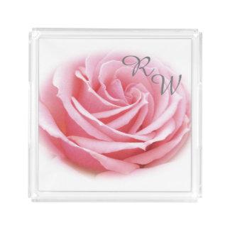 Bandeja do perfume do rosa do rosa do monograma