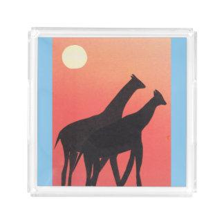 Bandeja do serviço com design do girafa