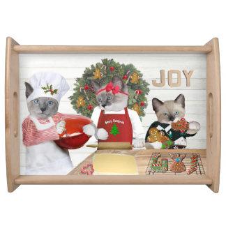 Bandeja do serviço do gatinho do biscoito do Natal