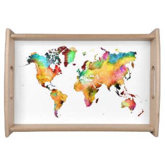 bandeja do serviço do mapa do mundo
