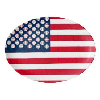 Bandeja dos basebol & da bandeira americana