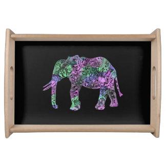 Bandeja elefante de néon floral tribal colorido