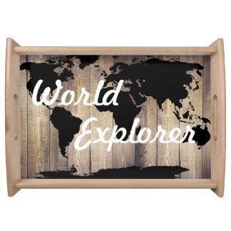 Bandeja Explorador preto rústico do mundo do mapa do mundo