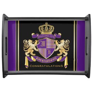Bandeja Faça seu próprio emblema da coroa do monograma da