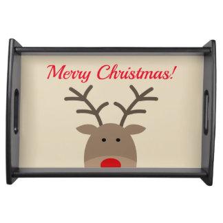 Bandeja Festa natalícia bonito do costume da rena do Feliz