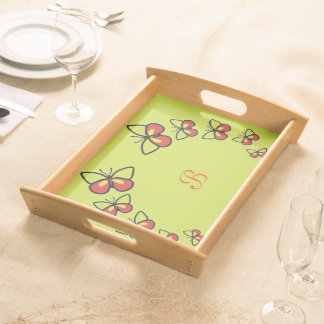 Bandeja Fileira de borboletas bonitos