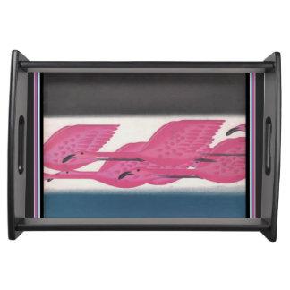 Bandeja Flamingos cor-de-rosa do art deco que servem a