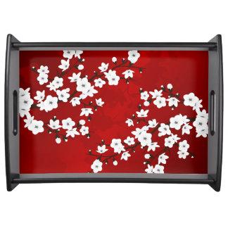 Bandeja Flor de cerejeira preto e branco vermelha