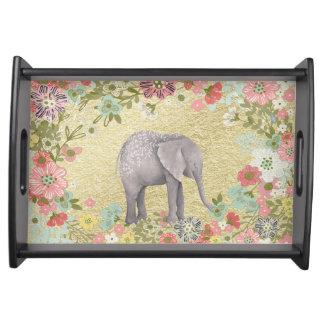 Bandeja Folha de ouro floral do quadro do elefante