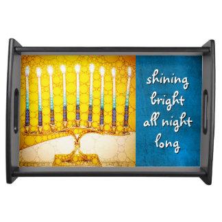 """Bandeja Foto amarela """"brilhante"""" de brilho de Hanukkah"""