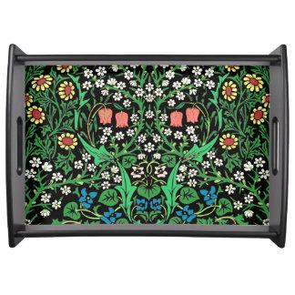 Bandeja Fundo floral de William Morris, preto Jacobean