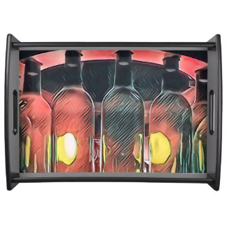 Bandeja Garrafas de vinho de vidro do pêssego artístico