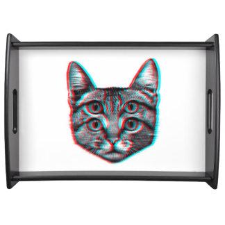 Bandeja Gato 3d, 3d gato, gato preto e branco