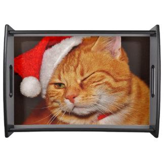Bandeja Gato alaranjado - gato de Papai Noel - Feliz Natal