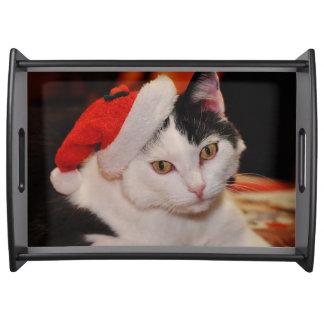 Bandeja Gato de Papai Noel - Feliz Natal - gato do animal