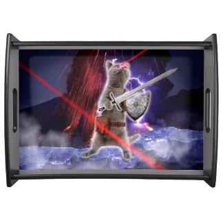 Bandeja gatos do guerreiro - gato do cavaleiro - laser do
