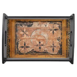 Bandeja gótico escuro velho do vintage de madeira medieval