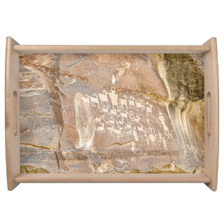 Bandeja Grande painel da caça - arte indiana da rocha