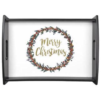 Bandeja Grinalda da aguarela - Feliz Natal - ramos