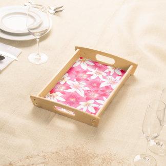 Bandeja Hibiscus branco e cor-de-rosa floral