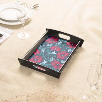 Bandeja Hibiscus vermelho bordado impresso