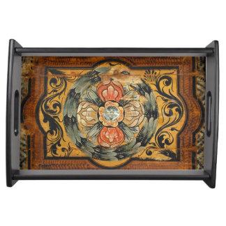 Bandeja hist gótico velho do vintage de madeira medieval