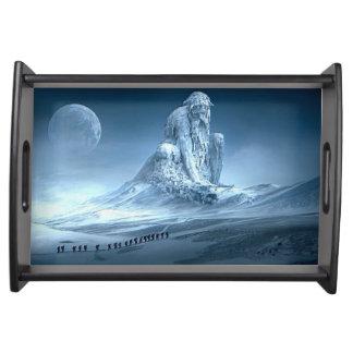 Bandeja Homem na escultura da fantasia da montanha