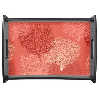 Bandeja Impressão coral do fã, máscaras da laranja coral