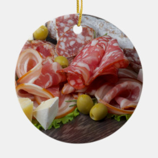 Bandeja italiana da carne ornamento de cerâmica redondo