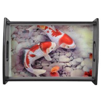 Bandeja Lagoa de peixes vermelha e branca de Koi