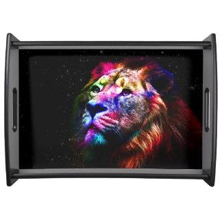 Bandeja Leão do espaço - leão colorido - arte do leão -