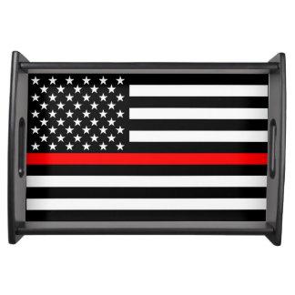 Bandeja Linha vermelha fina decoração gráfica da bandeira