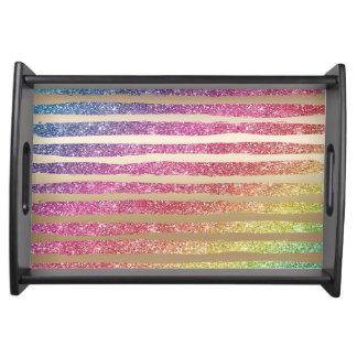 Bandeja Listras do ouro do brilho do arco-íris do falso