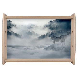 Bandeja Lobos na paisagem nevado do inverno