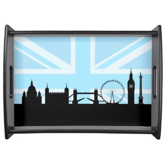 Bandeja Londres situa a skyline e Union Jack azul/bandeira